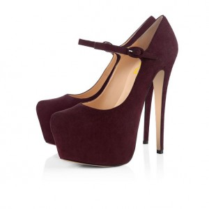 Maroon Heels Suede Mary Jane Pumps with Platform