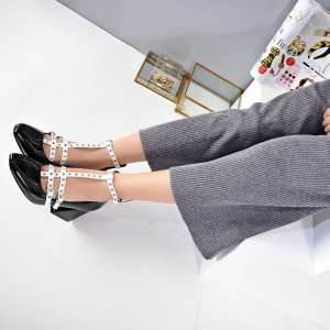 Black and White Heels Square Toe Patent Leather T Strap Shoes
