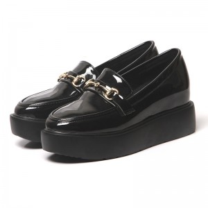 Black Patent Leather Square Toe Vintage Platform Loafers for Women