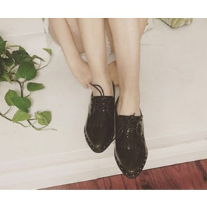 Women's Leila Black Mirror Leather School Shoes Fringed Pointed Toe Vintage Oxfords Shoes