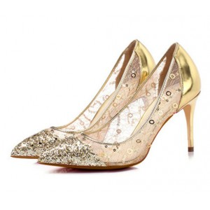 Gold Glitter and Sequined Evening Shoes Stiletto Heel Pumps for Party