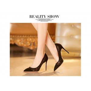 Black Lace Heels Pointy Toe Stilettos Pumps for Women