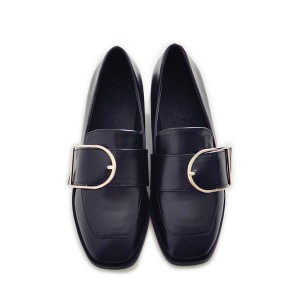 Black Square Toe Vintage Flat Loafers for Women US Size 3-15
