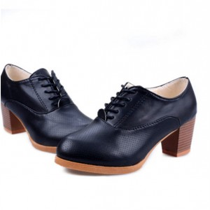 Navy Oxford Heels Round Toe Lace up Block Heel Vintage Shoes