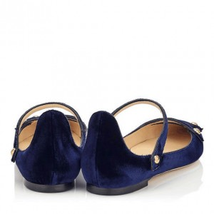 Navy Mary Jane Shoes Pointy Toe Suede Comfortable Flats