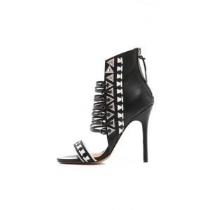 Women's Black and White Stiletto Heels Open Toe Strappy Sandals