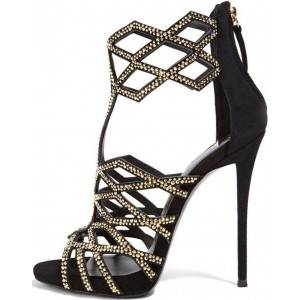 Black and Gold Studs Evening Shoes Open Toe Stiletto Heel Cage Sandals