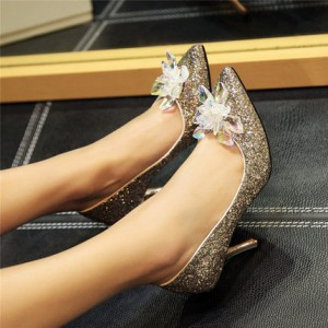 Women's Golden Heels Dazzling Crystal Stiletto Heel Pumps Bridal Heels