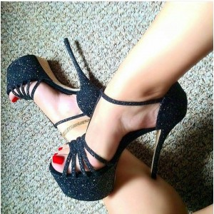 Black Glitter Shoes T Strap Open Toe High Heels Shoes with Platform
