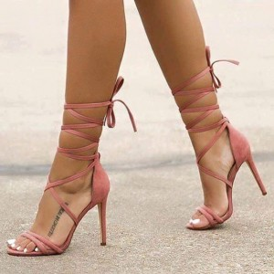 Pink Soft Strappy Sandals Stiletto Heels Open Toe Sexy Sandals
