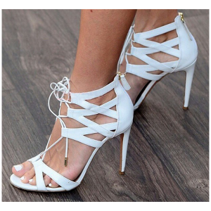White Lace up Sandals Open Toe Stiletto Heel Strappy Sandals