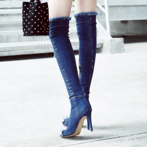 Blue Peep Toe Jeans Stilettos Long Boots Over-The- Knee Denim Boots