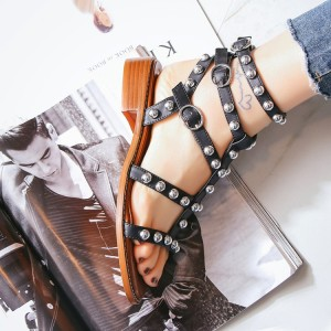 Black T-Strap Studded sandals Vintage Gladiator Sandals