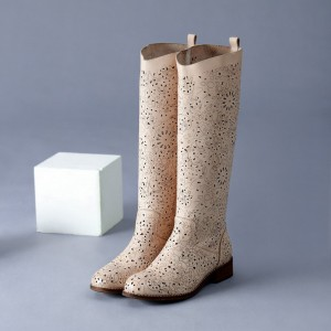 Beige Summer Boots Laser Cut Round Toe Knee Boots for Women