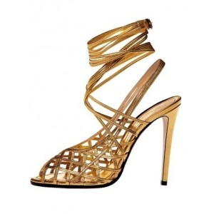 Gold Strappy Sandals Slingback Caged Stiletto Heels
