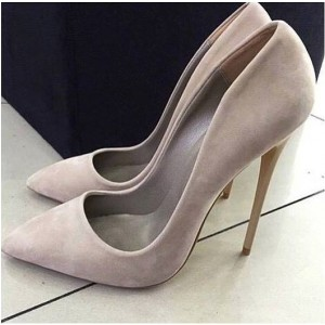 Grey Stiletto Heels Pointy Toe Suede Pumps Stiletto Heels