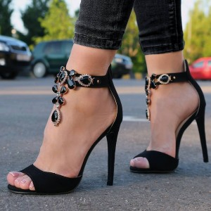 Black Jeweled Sandals Ankle Strap 5 Inches Stiletto Heels Shoes