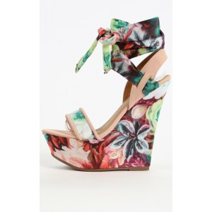 Floral Heels Strappy Platform Wedge Sandals