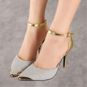 Silver and Gold Sparkly Shoes Ankle Strap Heels Double D'orsay Pumps