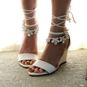 White Bridal Heels Strappy Rhinestone Wedge Heel Sandals