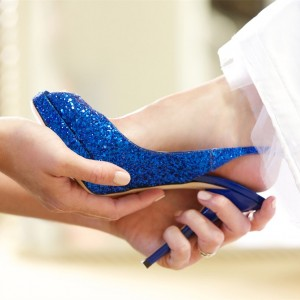 Royal Blue Glitter Peep Toe Platform Slingback Heels Wedding Shoes