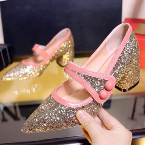 Women's Golden Sparkly Pointed Toe Chunky Heels Mary Jane Shoes
