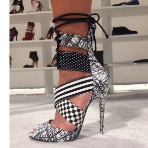 Black and White Lace up Sandals Peep Toe Stiletto Heels for Women