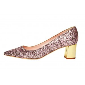 Pink Sparkly Heels Pointy Toe Chunky Heels Glitter Shoes