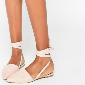 Beige Strappy Pointed Toe Comfortable Flats
