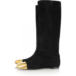 Black Fashion Boots Metal Toe Suede Flat Knee-high Boots
