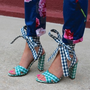 Green and Navy Plaid Strappy Sandals Open Toe Chunky Heels