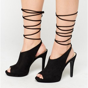 Black Strappy Heels Peep Toe Slingback Suede Shoes
