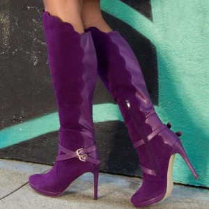 Fashion Purple Stiletto Boots Buckle Cross Wave Edge Knee-high Boots
