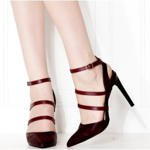 Burgundy Heels Ankle Strap Stiletto Heel Closed Toe Sandals