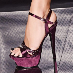 Burgundy Prom Shoes Open Toe Satin Platform Sandals with Rhinestone