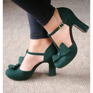 Green Suede T Strap Chunky Heel Sandals with Bow