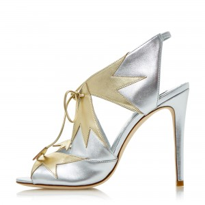 Silver Lace up Sandals Slingback Stiletto Heels for Women