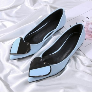 Women's Blue Pointed Toe Comfortable Flats with Heart Shape Pattern