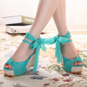 Women's Cyan Voile Lace Bow Wedge Heels Peep Toe Sandals