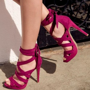 Burgundy Heels Suede Stiletto Heel Strappy Sandals with Platform