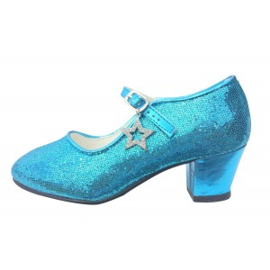 Frozen Elsa's Blue Sequined Chunky Heel Mary Jane Pumps for Halloween