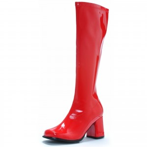 Wonder Woman Red Patent Leather Mid-Calf Chunky Heel Boots