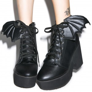 Bat Girl Lace up Boots Black Chunky Heel Ankle Boots for Halloween