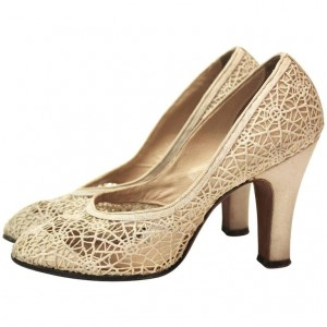 Spider Man Beige Lace Web Chunky Heels Pumps for Halloween