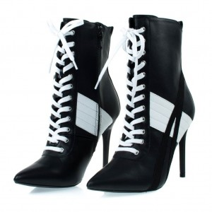 Black and White Lace up Boots Harley Quinn Stiletto Heel Booties