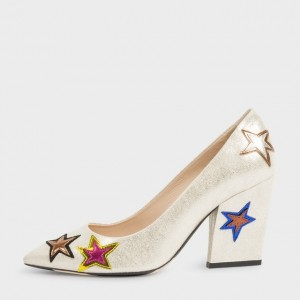 Champagne Star Floral Pointy Toe Chunky Heels Pumps for Halloween