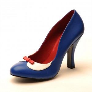 Snow White Blue Bow Vintage Shoes Spool Heels Pumps for Halloween