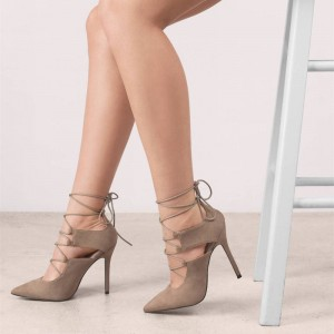 Khaki Lace up Heels Pointy Toe Suede Stiletto Heel Pumps for Women