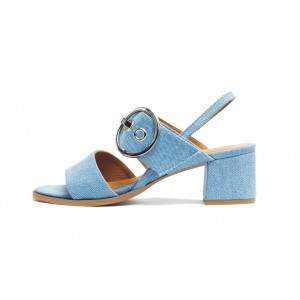 Light Blue Denim Open Toe Block Heel Slingback Sandals