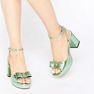 Green Bow Chunky Heel Sandals Open Toe Ankle Strap Sandals